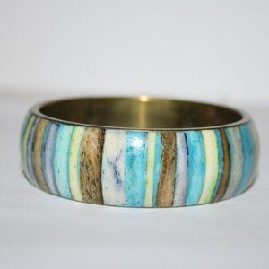 Boho brass blue and green bangle bracelet